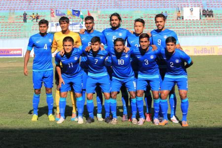 The Indian football team pose before their match