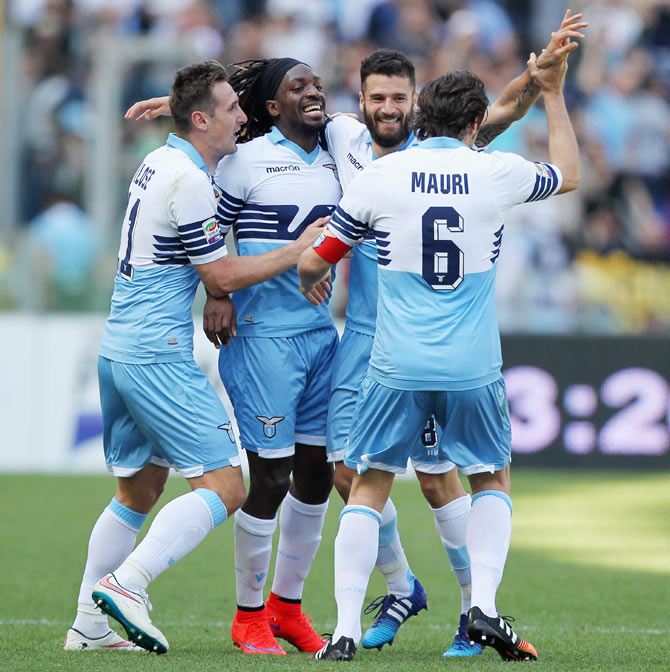 Lazio's Antonio Candreva (2nd from right) celebrates with teammates after scoring the team's third goal during their Serie A match against Empoli FC at Stadio Olimpico in Rome on Sunday