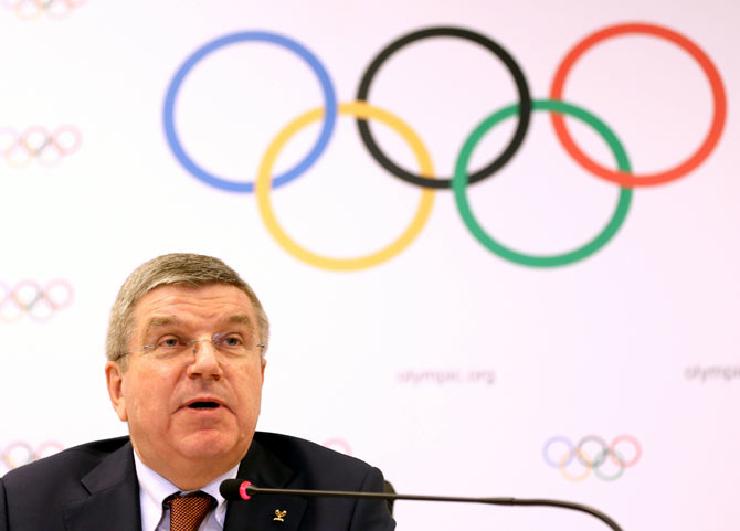 Rediff Sports - Cricket, Indian hockey, Tennis, Football, Chess, Golf - Blanket ban on Russia for Olympics would not be fair: IOC chief