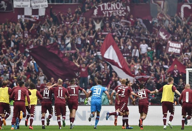 Team of Torino FC celebrate