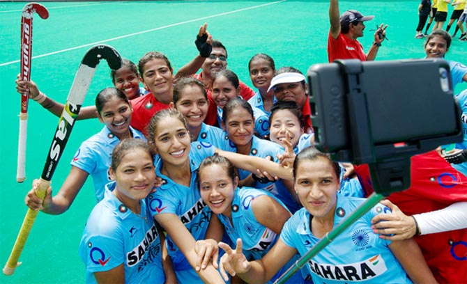 The Indian women's hockey team celebrate qualifying for the Rio Olympics