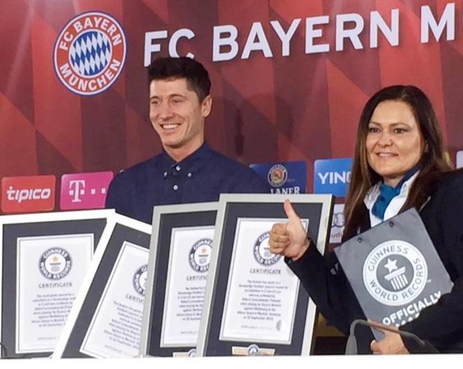 Rediff Sports - Cricket, Indian hockey, Tennis, Football, Chess, Golf - Bayern's Lewandowski bags FOUR Guinness World Records
