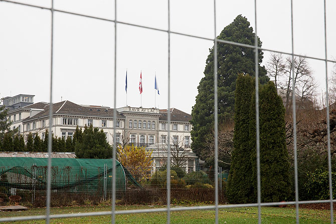 General view of the hotel Baur au Lac Zurich in which Swiss police detained several FIFA football officials in Zurich on Thursday