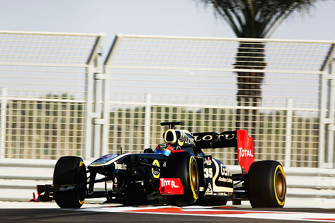 Lotus Renault driven at the Formula 1 Young Drivers Test at Yas Marina Circuit