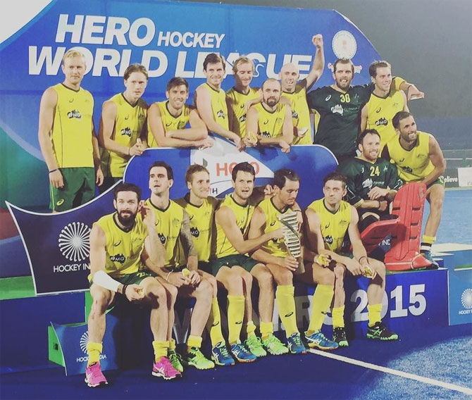 The victorious Australian hockey team after winning the World Hockey League Final in Raipur on Sunday