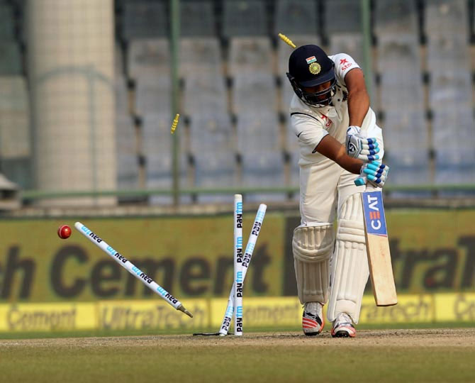 India's Rohit Sharma is bowled by South Africa's Morne Morkel for a duck on Day 3 of the 4th Test at the Feroz Shah Kotla in New Delhi on Saturday