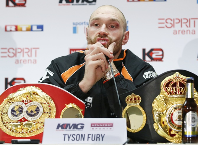Tyson Fury during a press conference