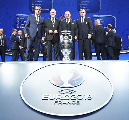 ... EURO 2016 trophy at the Euro 2016 draw at Palais des Congres in Paris