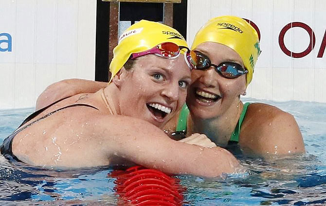 Australia's Emily Seebohm celebrates with her compatriot and second placed Madison Wilson (right) after the women's 100m backstroke final at the World Championships in August