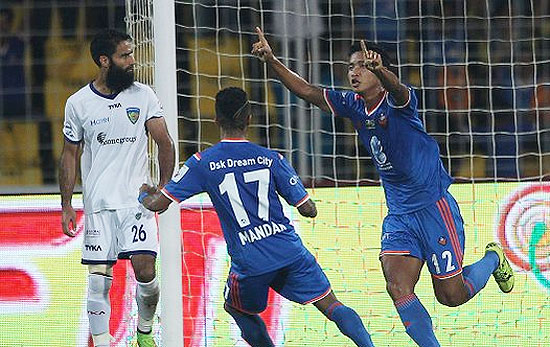 FC Goa's Thongkhosiem Haokip celebrates after scoring the equaliser against Chennaiyin FC