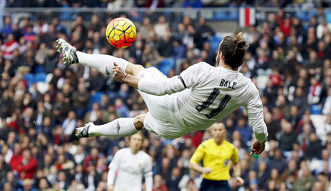 Real Madrid's Gareth Bale in action against Rayo Vallecano during their La Liga match at the Santiago Bernabeu stadium on Sunday