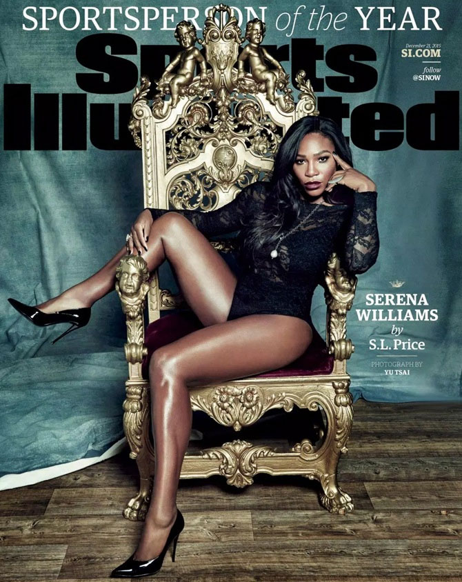 A picture of Serena Williams for the cover of Sports Illustrated's Sports Personality of the Year issue