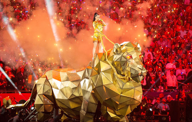 American singer Katy Perry performs onstage during the Super Bowl XLIX Halftime Show on Sunday