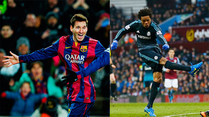 Barca's Lionel Messi and Chelsea's Loic Remy