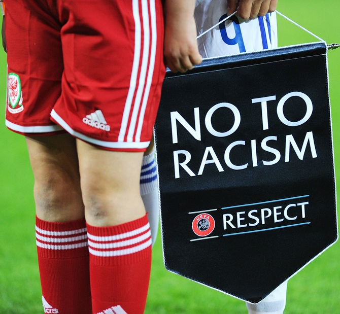 A 'No to Racism' sign