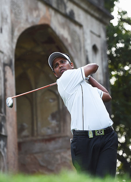 Image: SSP Chawrasia of India plays a shot during the second round of the Hero India Open Golf at Delhi Golf Club in New Delhi on Friday