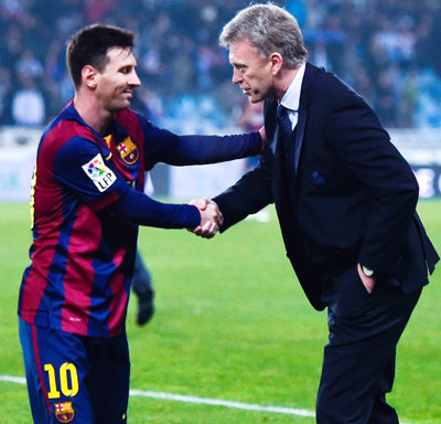 Lionel Messi and David Moyes