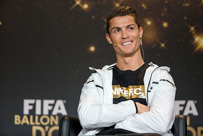 FIFA Ballon d'Or nominee Cristiano Ronaldo of Portugal and Real Madrid attends a press conference