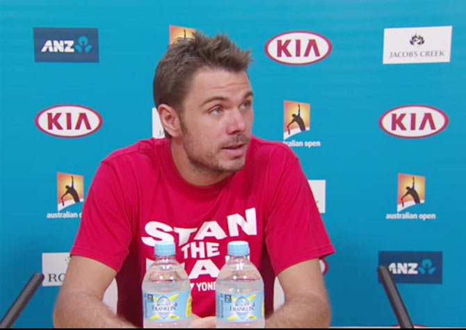 Stanislas Wawrinka speaks at a press conference on Sunday