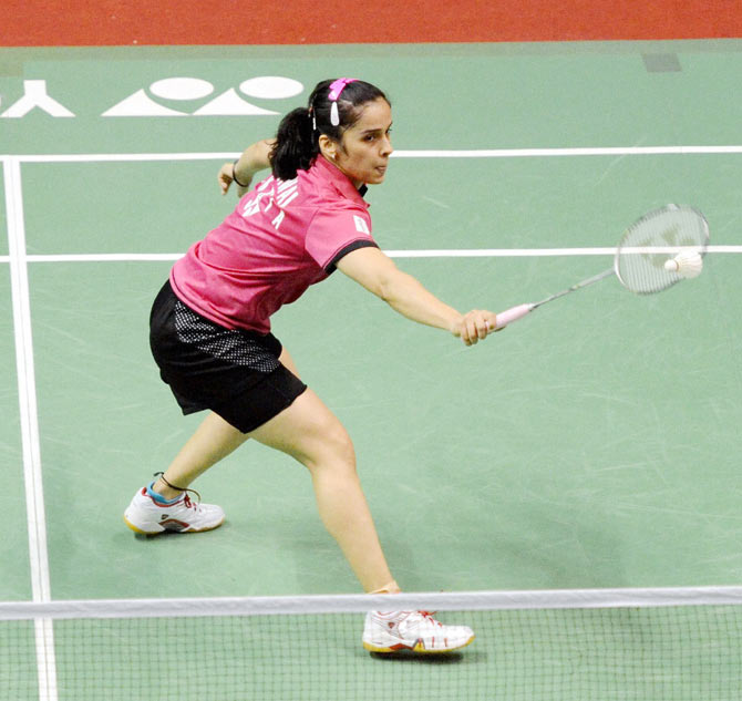 Indian shuttlers Saina Nehwa in action during the semi-final of the Syed Modi International Badminton tournament in Lucknow on Saturday