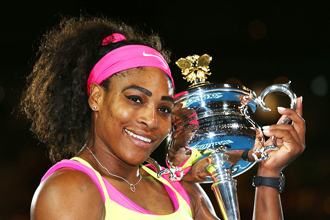 Serena Williams holds the Daphne Akhurst Memorial Cup after winning the 2015 Australian Open women's final against Maria Sharapova