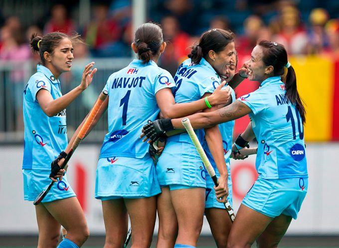 India's women's hockey team celebrates