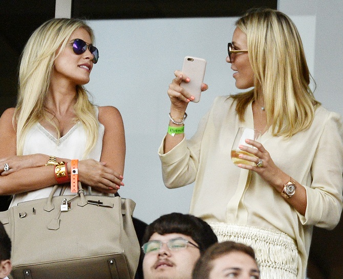 Alex Curran, right, wife of new Los Angeles Galaxy midfielder Steven Gerrard and Claudine Keane wife of Los Angeles Galaxy forward Robbie Keane