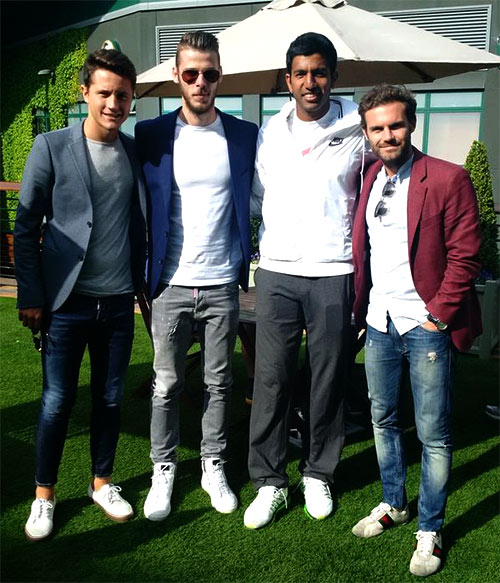 First Look: Bopanna catches up with Man United trio at Wimbledon