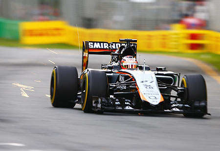 Nico Hulkenberg of Germany and Force India drives