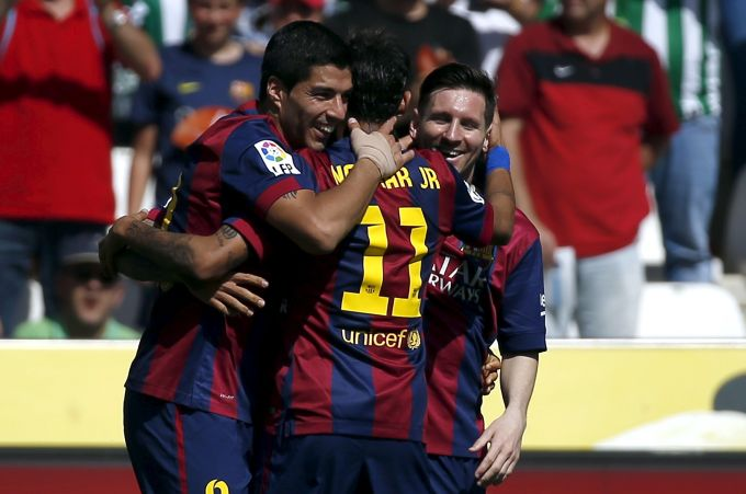 Rediff Sports - Cricket, Indian hockey, Tennis, Football, Chess, Golf - Suarez grabs hat-trick as Barca rout Cordoba; Real also win