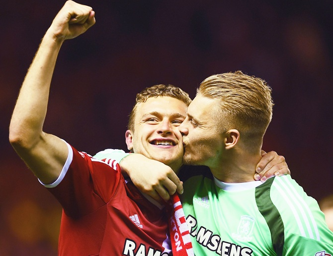 Ben Gibson, left, and Connor Ripley of Middlesbrough celebrate