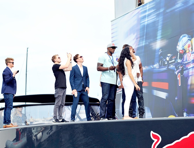 Michael Carrick, Reggie Bush, Lilit Avagyan, Benedict Cumberbatch and Disclosure prepare to   watch Danny MacAskill front flip off of the Red Bull Energy Station