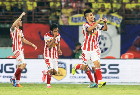 Atletico Kolkata's Arata Izumi celebrates after scoring the winning goal against Kerala Blasters during their Indian Super League match on Tuesday