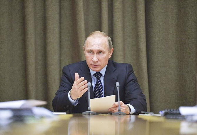 Russian President Vladimir Putin chairs a meeting at the Bocharov Ruchei state residence in Sochi on Wednesday