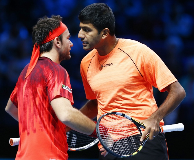 Rediff Sports - Cricket, Indian hockey, Tennis, Football, Chess, Golf - Bopanna-Mergea crash out of Monte Carlo Masters