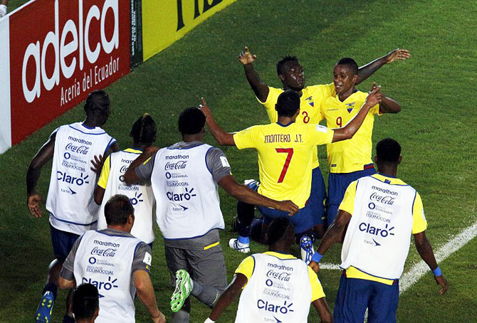 Ecuador's players celebrate their team's third goal against Venezuela's during their 2018 World Cup qualifying match at the Cachamay stadium in Puerto Ordaz, Venezuela on Tuesday