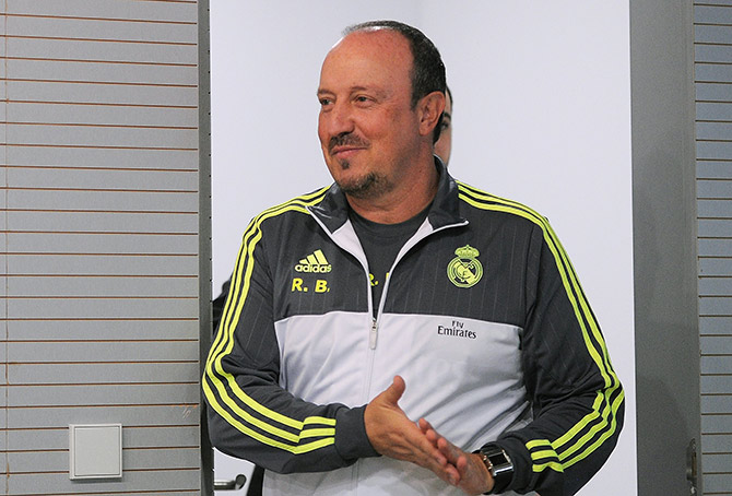 Real Madrid manager Rafa Benitez arrives for a press conference