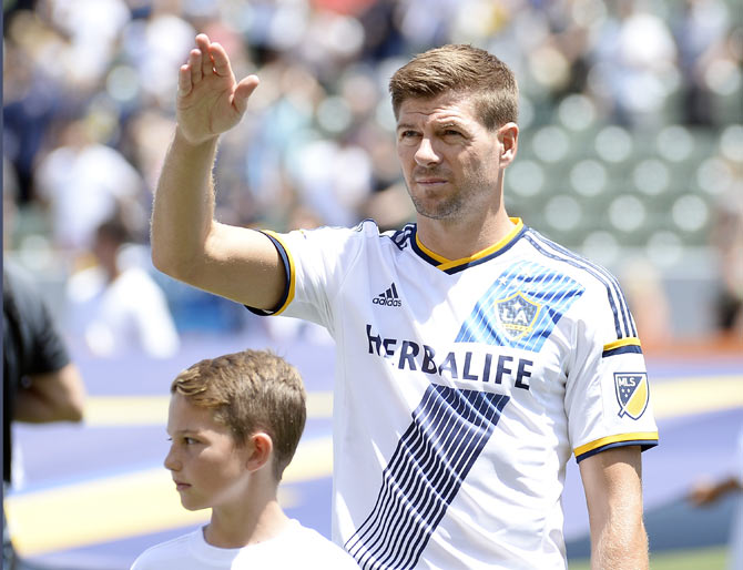 Steven Gerrard of the Los Angeles Galaxy waves