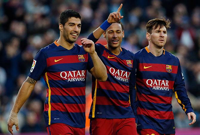Rediff Sports - Cricket, Indian hockey, Tennis, Football, Chess, Golf - La Liga: Neymar double as Barca's rampant strikers sink Sociedad