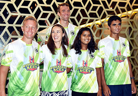 Tennis stars Martina Hingis, Ivo Karlovic, Thomas Johanss, Adil Kalyanpur and Sathwika Sama pose for a photograph before a press conference of second season of Champions Tennis League 2015 in Hyderabad on Friday