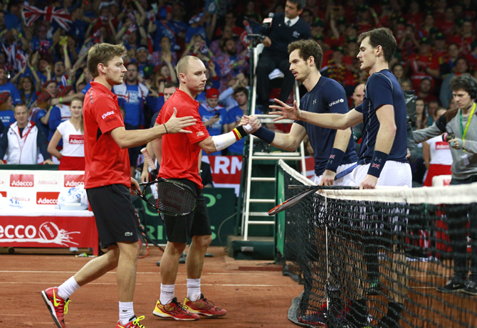 Rediff Sports - Cricket, Indian hockey, Tennis, Football, Chess, Golf - Magnificent Murrays put Britain on brink of Davis Cup title