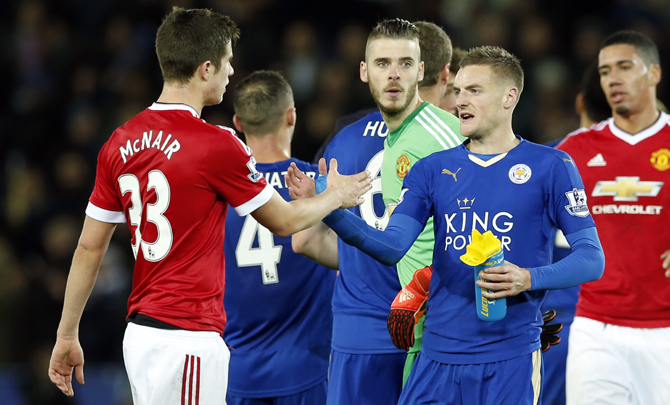 Rediff Sports - Cricket, Indian hockey, Tennis, Football, Chess, Golf - Premier League: Vardy breaks record as Leicester draw with United