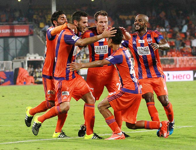 Pune FC players during the Indian Super League