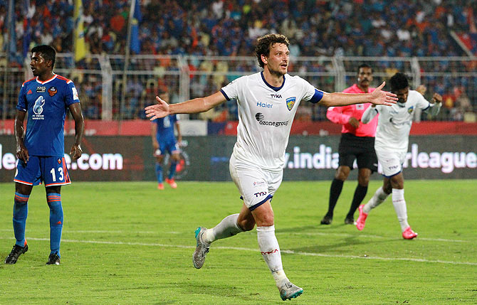 Chennaiyin FC's Elano Blumer celebrates on netting a goal