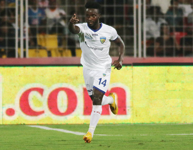 Chennaiyin FC's Stiven Mendoza celebrates after scoring against FC Goa at the Nehru Stadium in Margao on Sunday