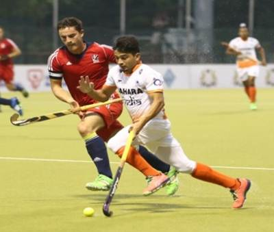 Action in the 5th Sultan of Johor Cup match between India and Great Britain