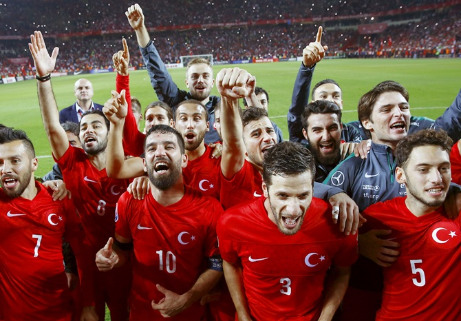 Turkey's players celebrate
