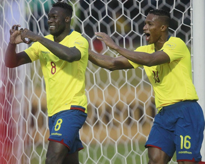 Felipe Caicedo, left, and Antonio Valencia of Ecuador