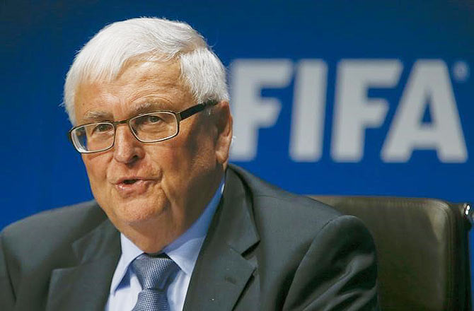 FIFA executive member Zwanziger addresses a news conference in Zurich