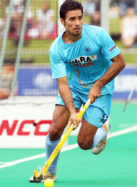 Image: India's hockey player Gurbaj Singh in action